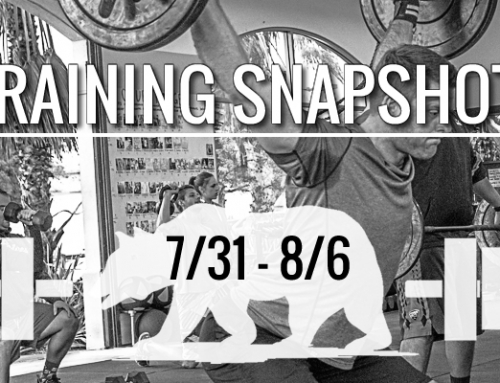 This Week's Training: 7/31 – 8/6