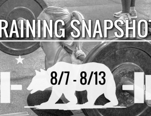 This Week's Training 8/6 – 8/13