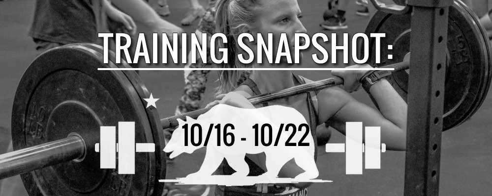 This Week's Training 10/16 – 10/22