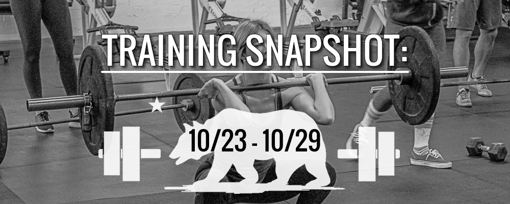 This Week's Training 10/23 -10/29