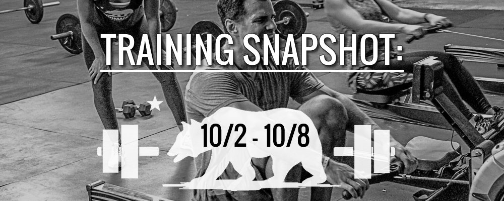 This Week's Training 10/2 – 10/8