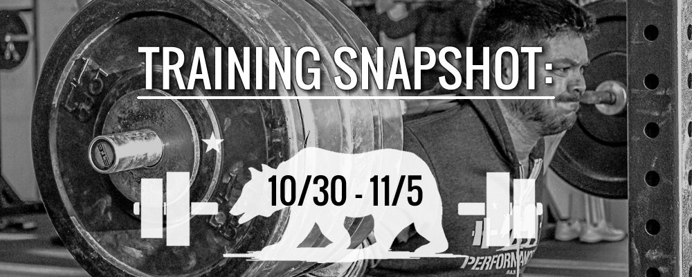 This Week's Training 10/30 – 11/5