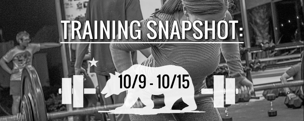 This Week's Training 10/9 – 10/15