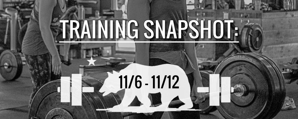 This Week's Training 11/6 – 11/12