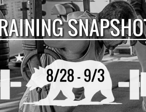 This Week's Training 8/28 – 9/3