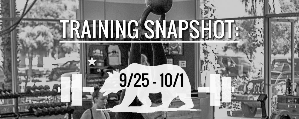 This Week's Training 9/25 – 10/1