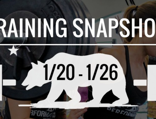 This Week's Training: 1/20 – 1/26
