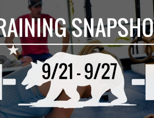 This Week's Training: 9/21 – 9/27